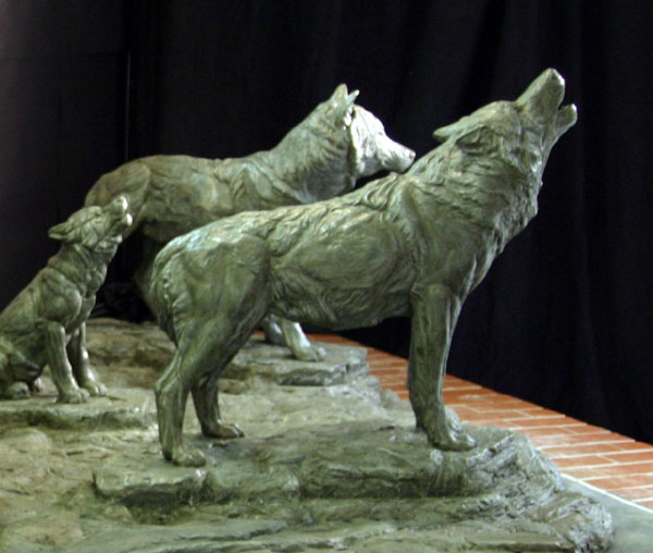 Bronze Wolf Statue Dark Brown Hairs